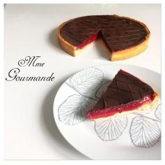 Tarte Crème d'amande framboise et chocolat noir