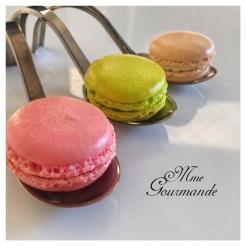 Macaron saumon, foie gras, chèvre menthe